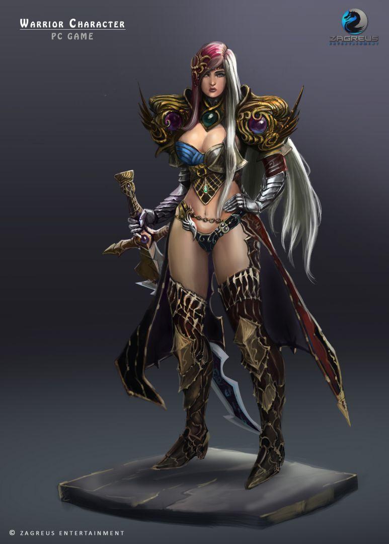 2D Concepts, Sketches & Illustrations Warrior Game Char 02 Female ZE jpg