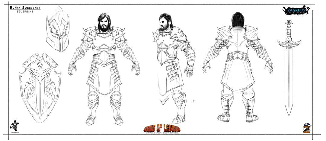 2D Concepts, Sketches & Illustrations human swordsmen Blueprint ZE jpg