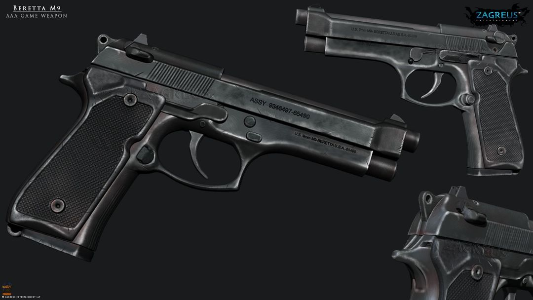 3D Gaming Props (vehicles, guns, house, machine etc) Beretta M9 ZE jpg