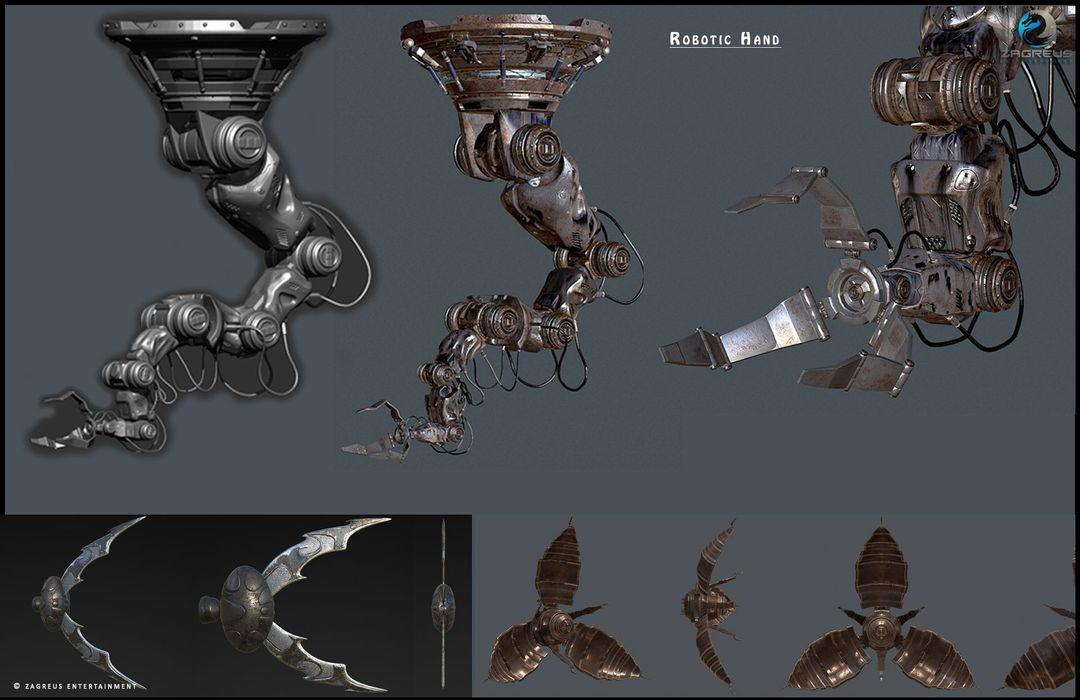 3D Gaming Props (vehicles, guns, house, machine etc) Robotic Hand   Low Poly 02 ZE jpg