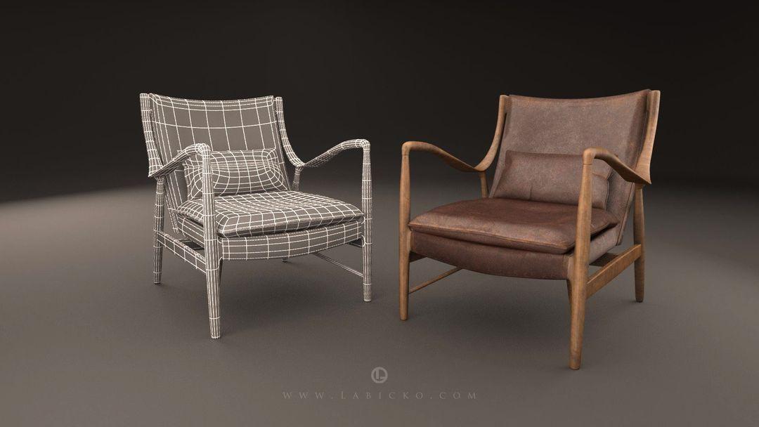 Furniture 3D models Leather Armchair 3D Model WebGL 3 jpg