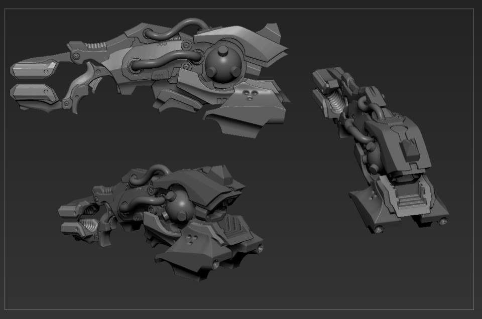 High poly sculpts Gun jpg