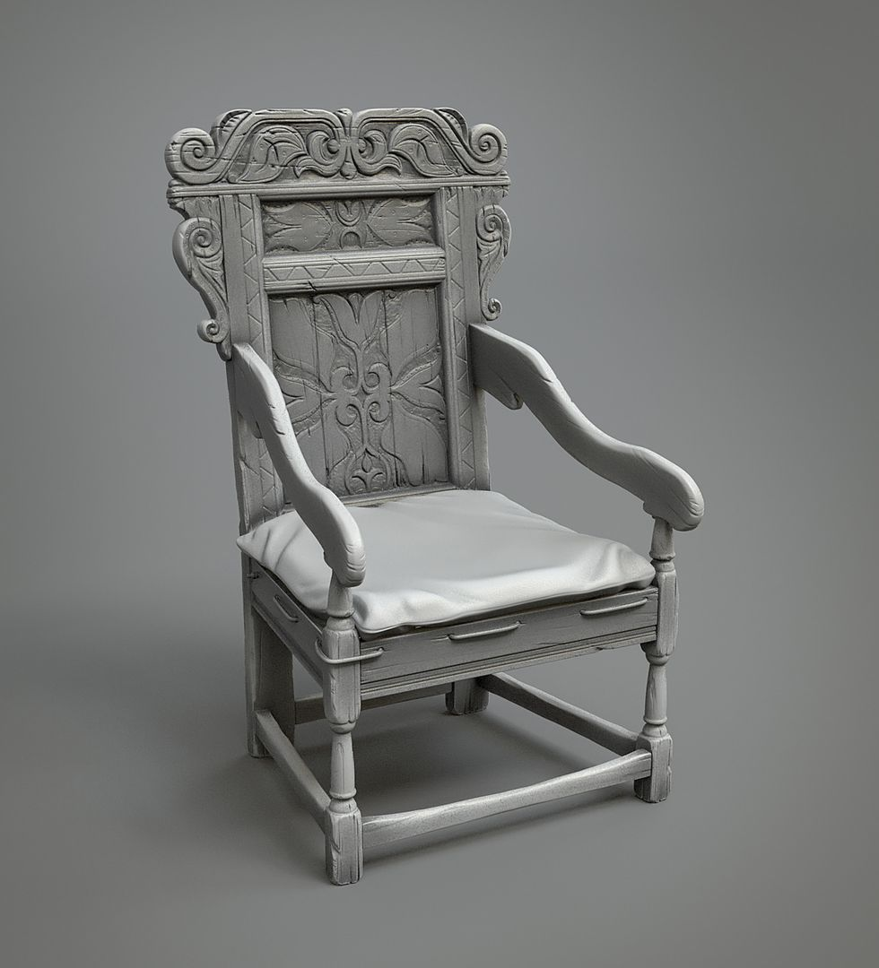 Highpoly hardsurface work Wainscot armchair jpg