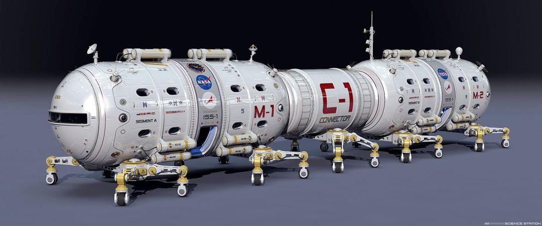 Hard Surface 3D Modeling. Science Station. max emski maxemski science station jpg
