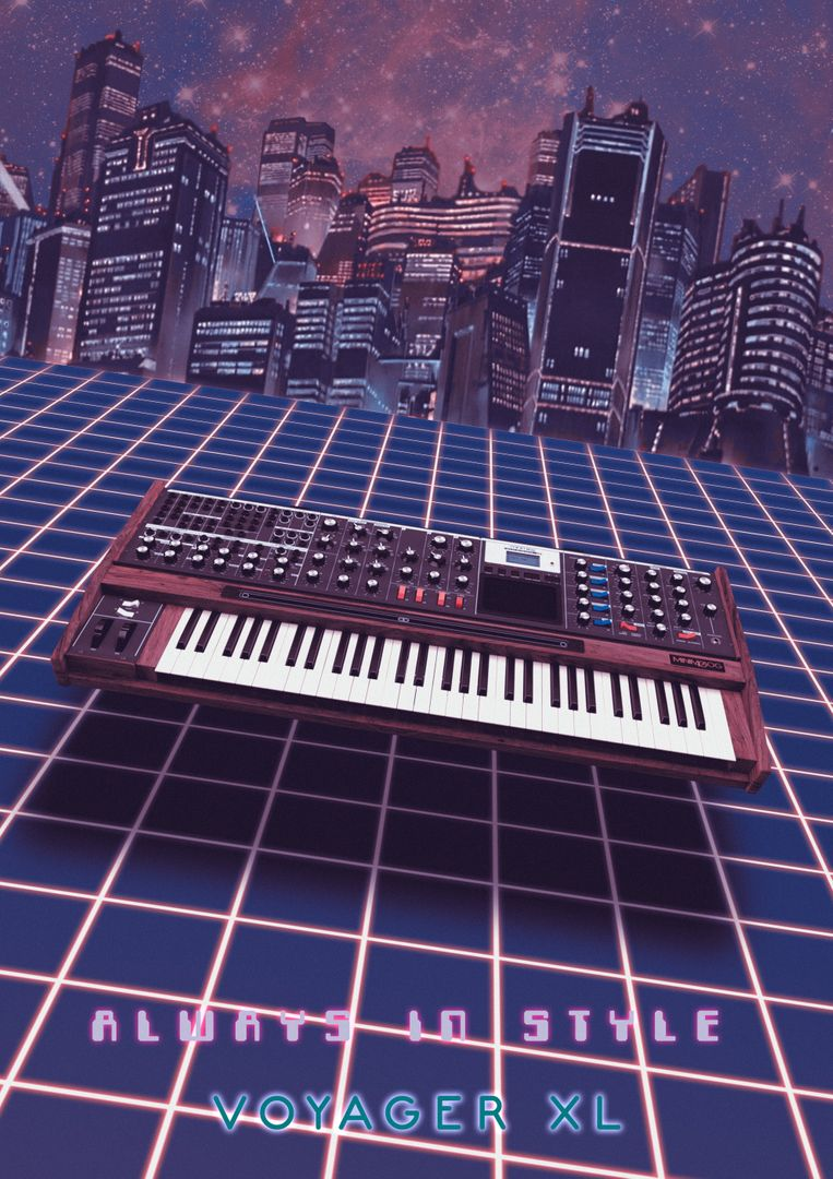 Product Design 3D Modelling and Texturing moog 80s NeonBlue jpg