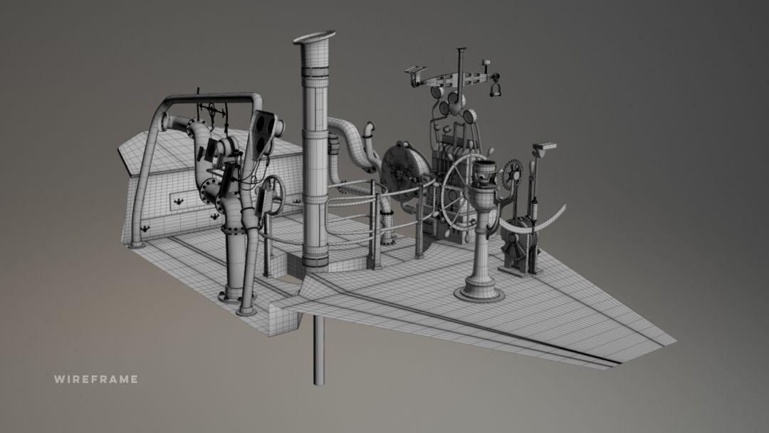 Nautilus Submarine 3D Modeling and texturing - Disney Nautilus CUP WIREFRAME1 jpg
