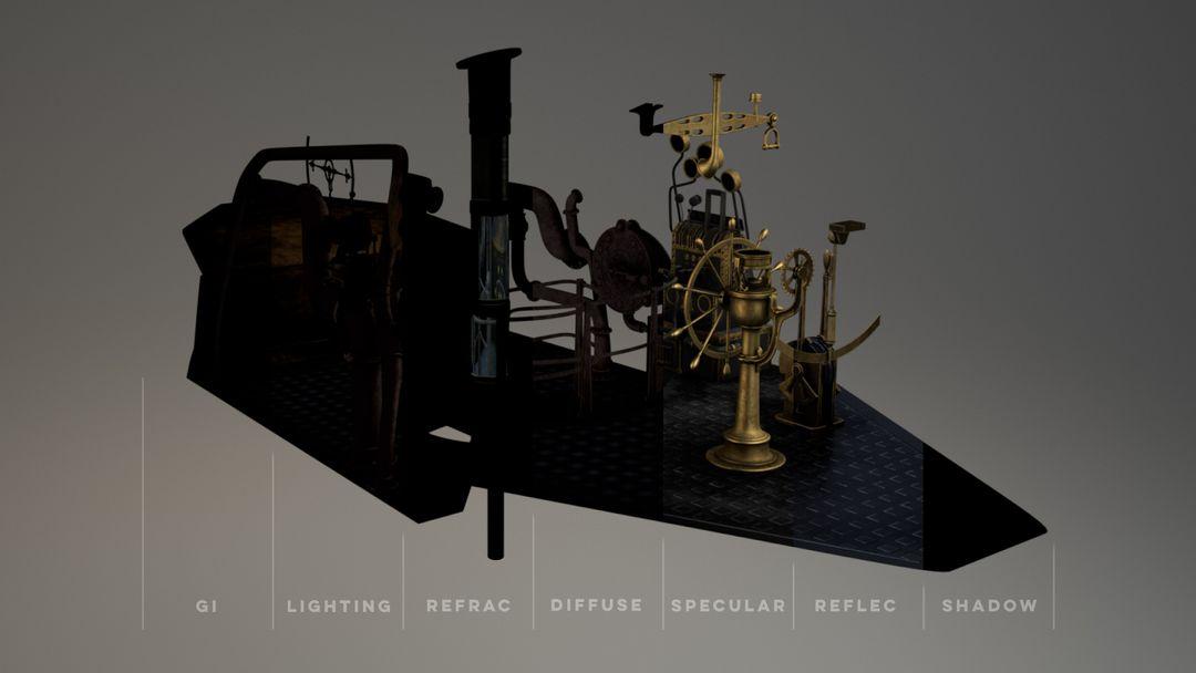 Nautilus Submarine 3D Modeling and texturing - Disney Nautilus CUP breakdown jpg