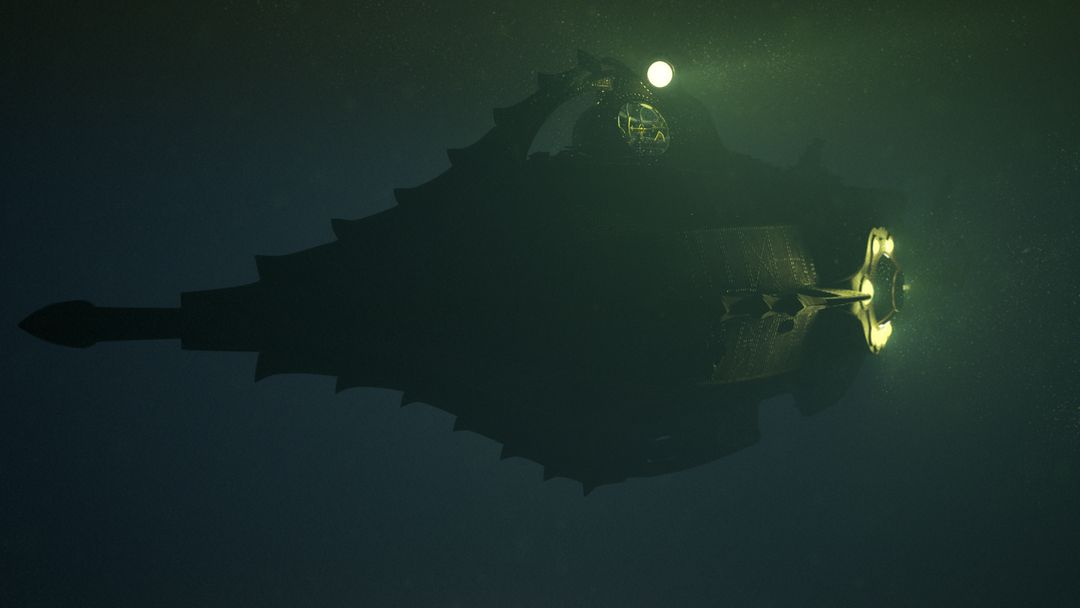 Nautilus Submarine 3D Modeling and texturing - Disney Nautilus under 16 darker winterlook02 jpg