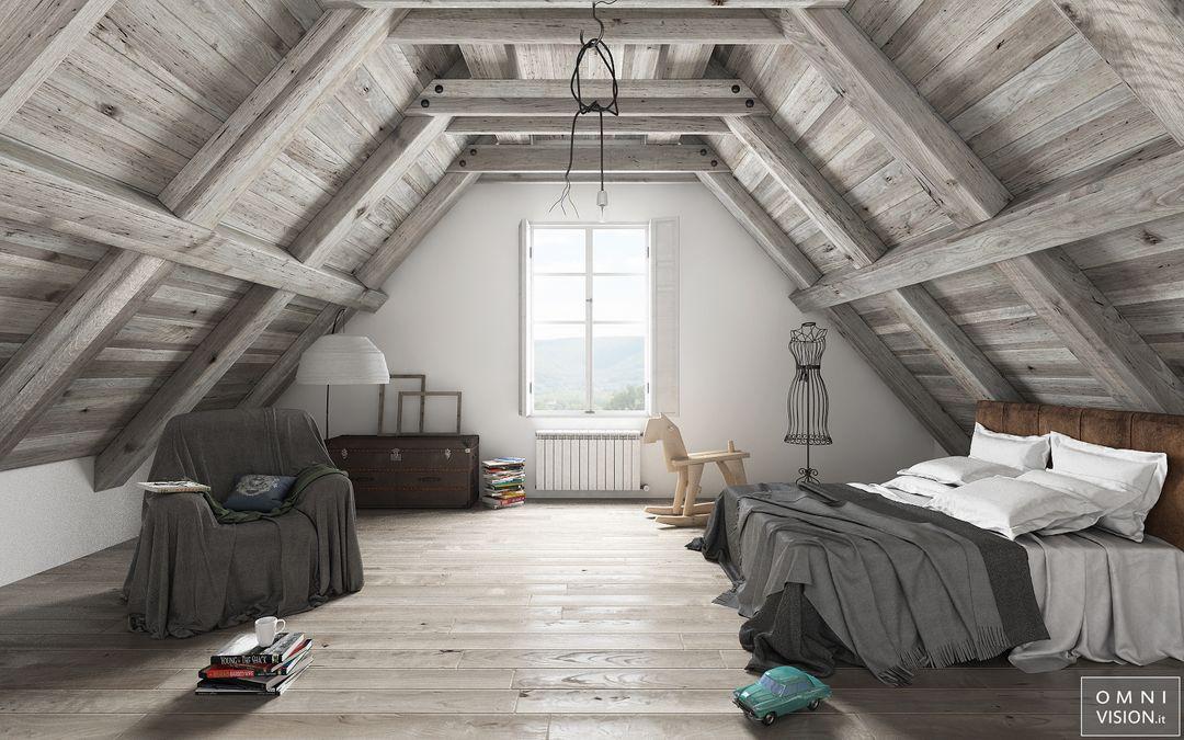Architectural visualization Attic Bedroom LOGO jpg