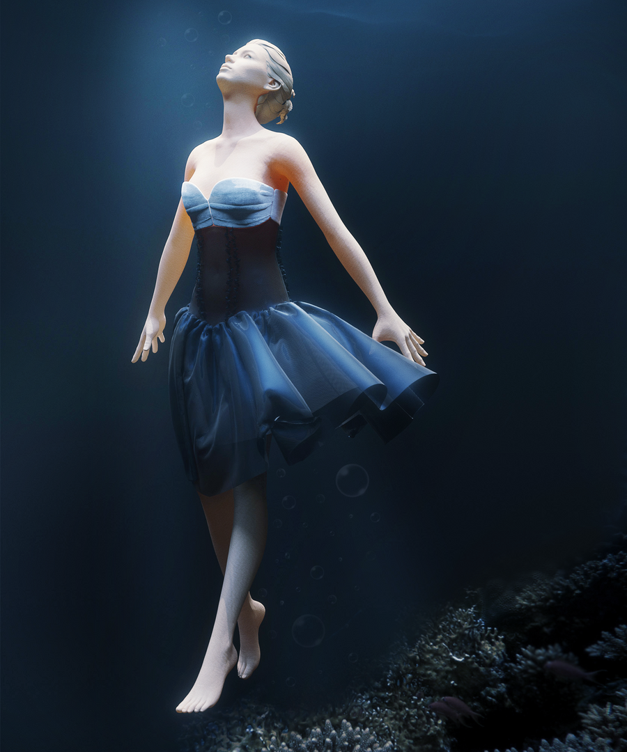Fabric Modeling under water photoshoped png