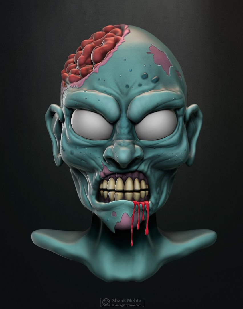 Organic Sculpting and Modeling BlueZombie Final jpg