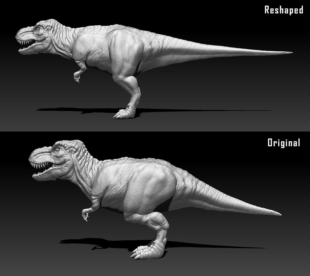 Organic Sculpting and Modeling Trex Comparison jpg