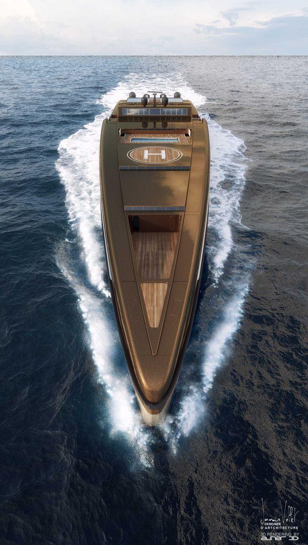 yacht rendering SVX423 front1 Metalic bronze jpg