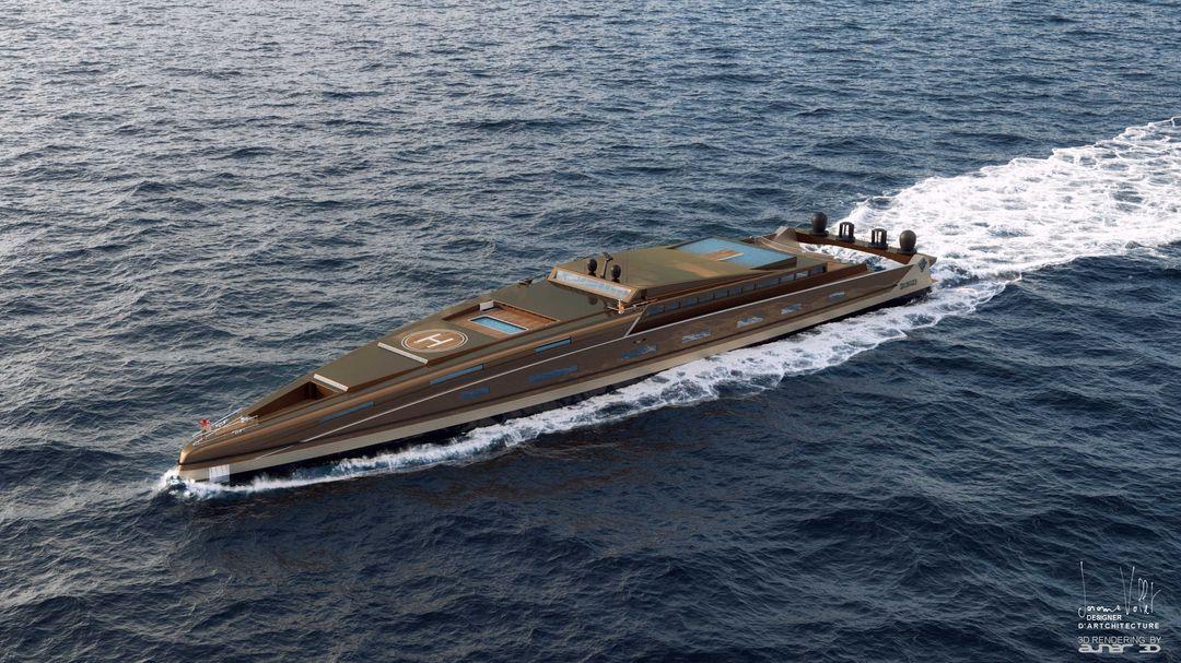 yacht rendering SVX423 ladies Metalic bronze jpg