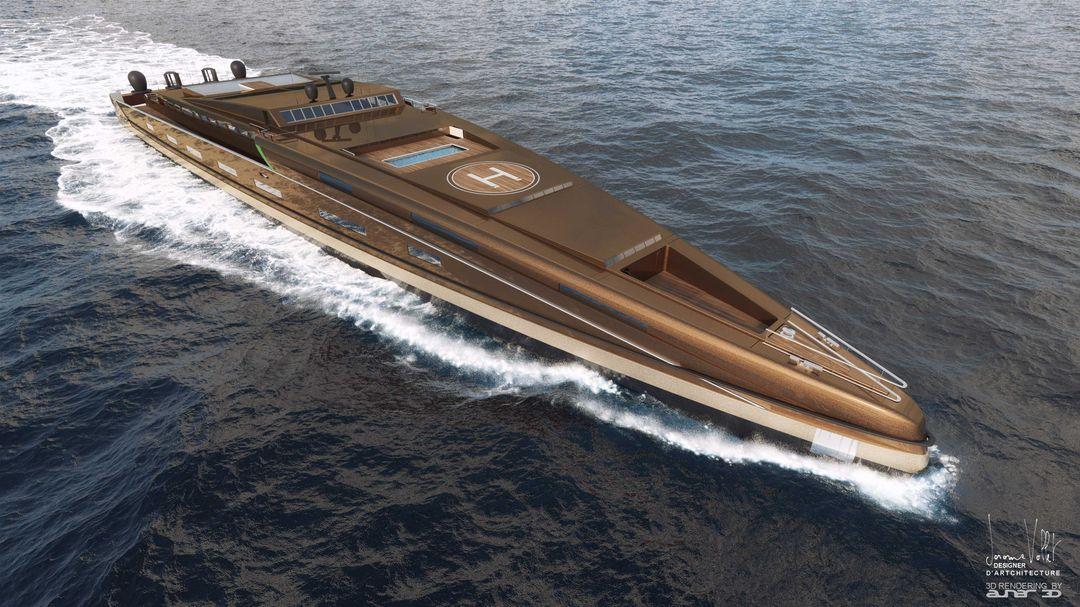 yacht rendering SVX423 tribord2 Metalic bronze jpg