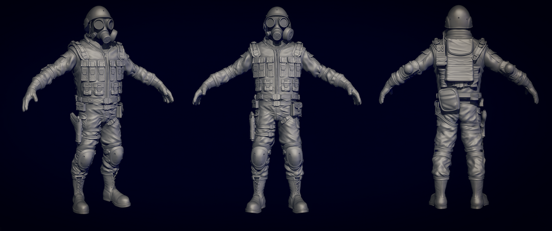 Zombie Slayer - High Poly character for 3d print c1156d21189599 562fd151b4a83 png