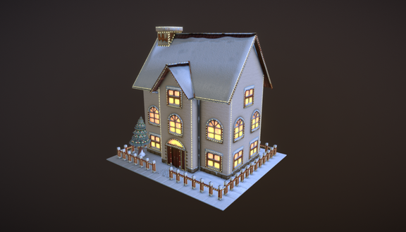 Cartoon Christmas House Low-poly