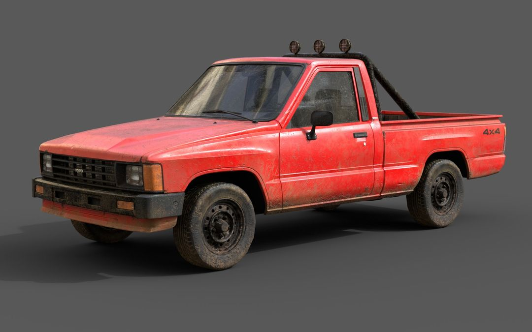 Real-Time Game-Ready Toyota Hilux 1983 Vehicle raul fernandez 2 jpg
