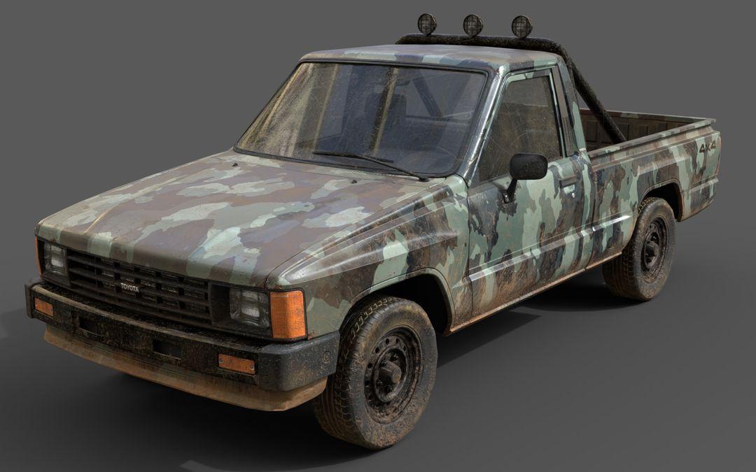 Real-Time Game-Ready Toyota Hilux 1983 Vehicle raul fernandez camo1 jpg