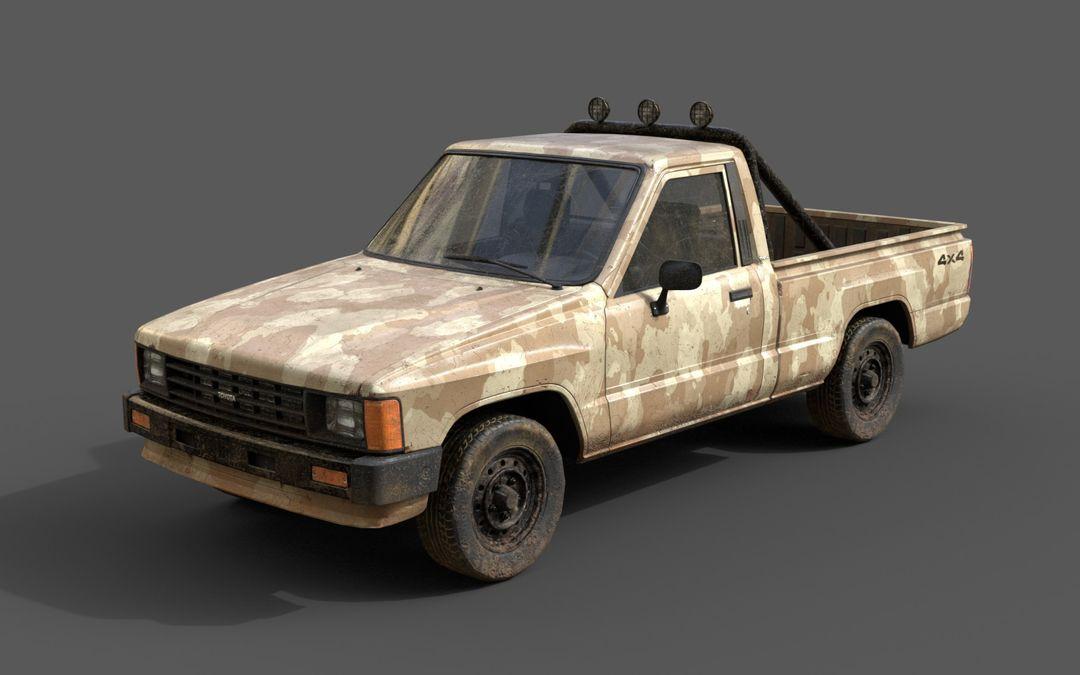 Real-Time Game-Ready Toyota Hilux 1983 Vehicle raul fernandez camo6 jpg