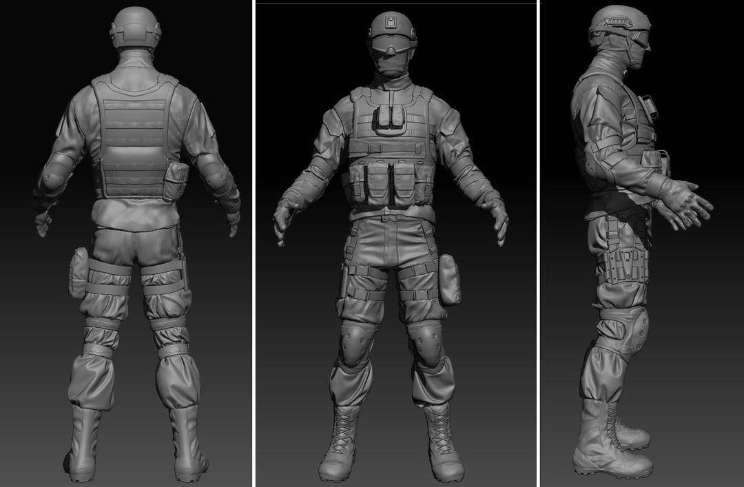 Modern soldier High Poly jpg