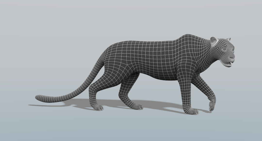 Leopard (Fur) Rigged Wire Pose png