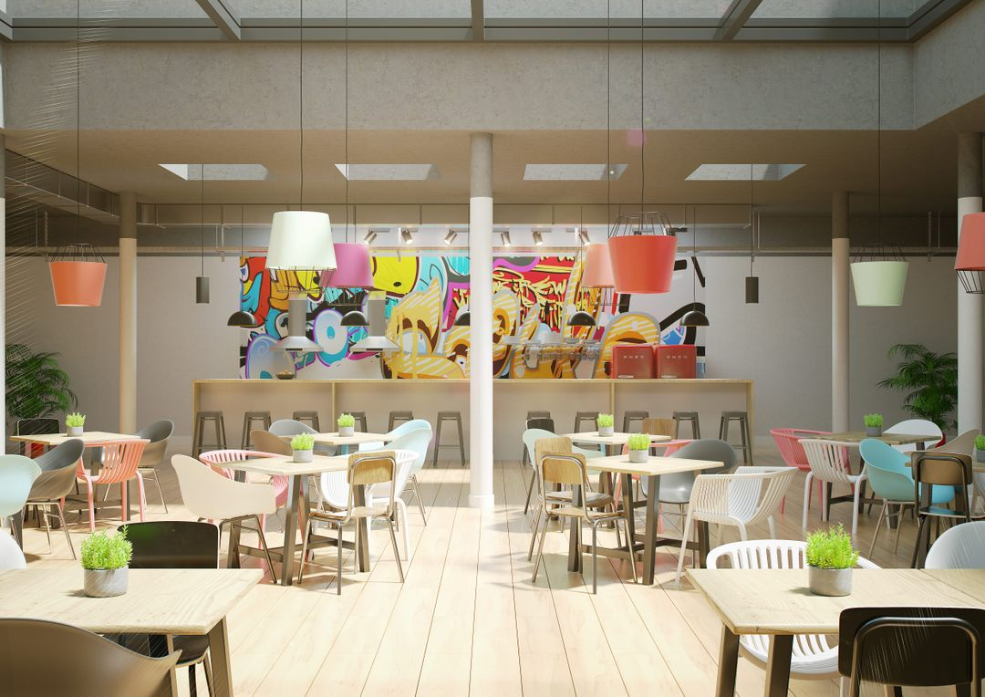 Architecture Visualisation Cafeteria with bar Final min jpg