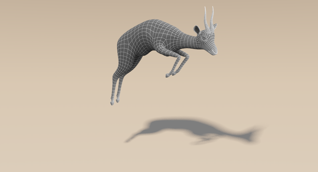 Thomson Gazelle (Fur) Rigged Wireframe 5 png