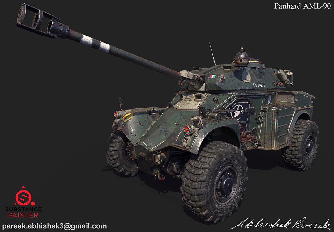 Hard surface/Weapon/vehicle artist Panhard AML 90 01 jpg