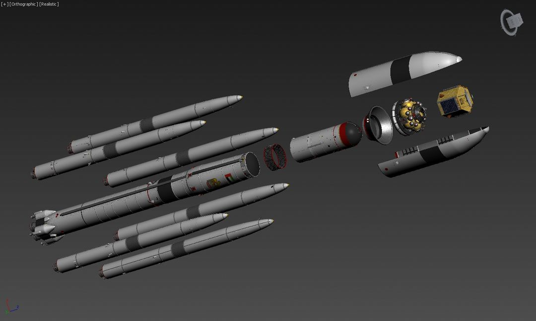 3D Falcon rocket, Mars probe modeling for UAE Space Agency exploded view jpg