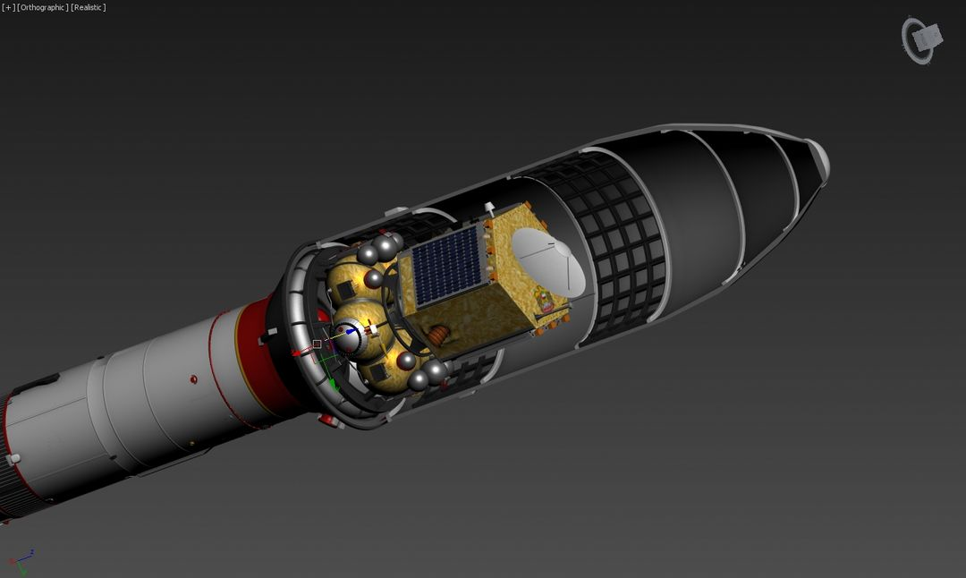 3D Falcon rocket, Mars probe modeling for UAE Space Agency nosecone payload jpg