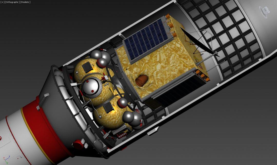3D Falcon rocket, Mars probe modeling for UAE Space Agency payload satellite jpg