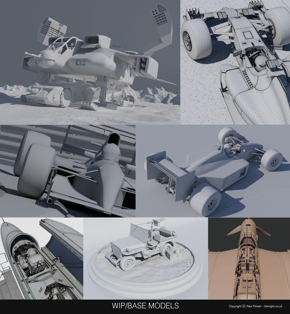 Vehicle 3D models WIP jpg
