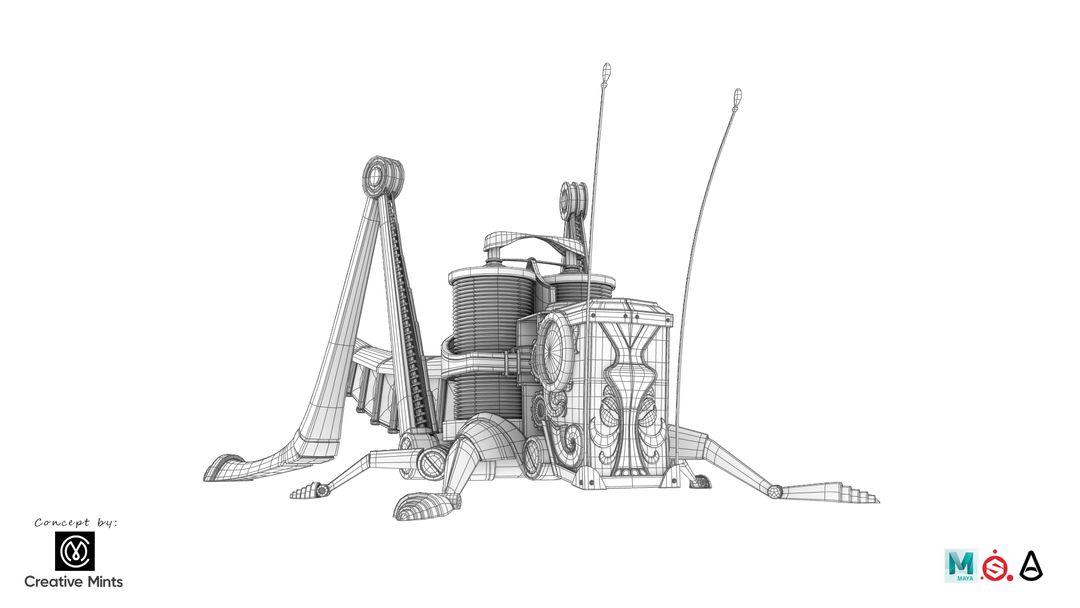 Steampunk Grasshopper Saltamontes2 Malla jpg