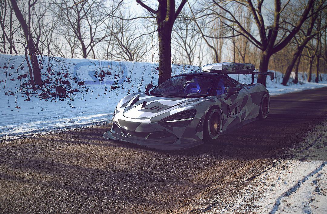 McLaren 720s Arnold Rendering, 720s snow  jpg
