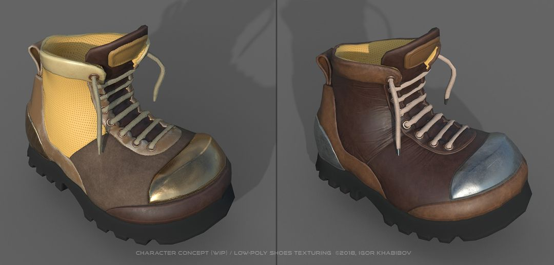 Low-poly shoes for stylized character concept 005 1 jpg