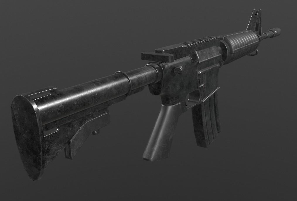 Assault Rifle m4 game ready 3d model low poly fbx 1 png