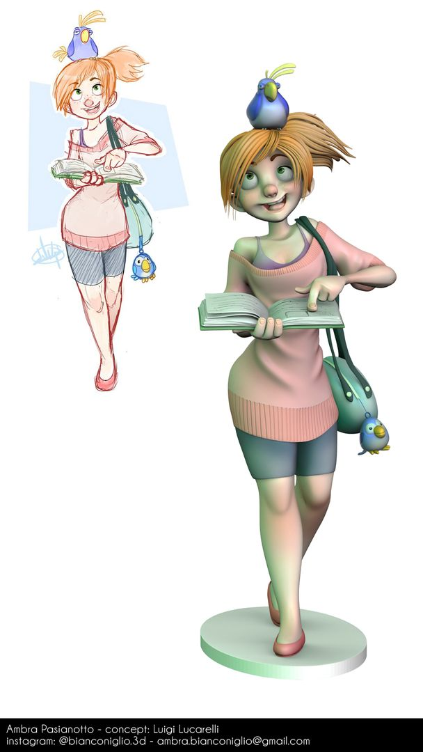 Girl with Parrot concept jpg