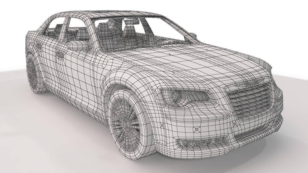 Automotive 3D Modeling and Rendering PF CHRYSLER 300s wire1 png