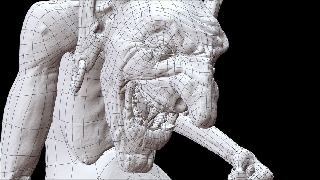 3d Sculpting GOBLIN Pose2 wire jpg