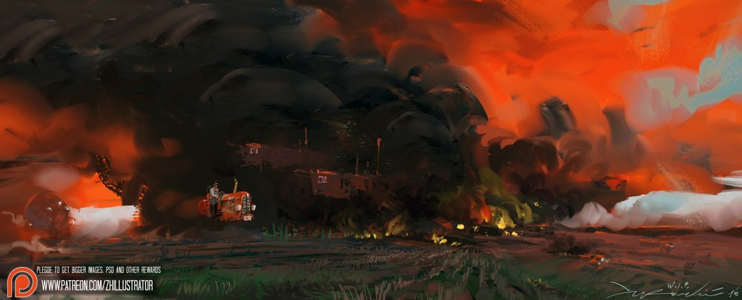 1 Comissioned SF/F Illustration, Medium Amount of Detail Burning the Fields 1680 jpg