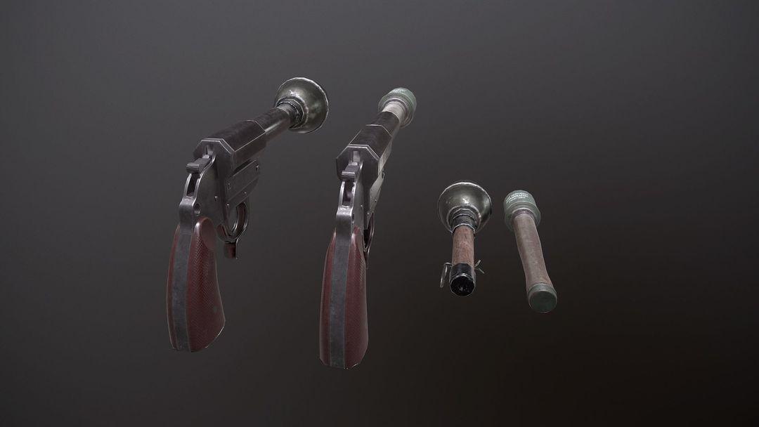 WWII Granade Launcher plus Grenades game ready PBR textures. wwii granade launcher plus grenades 3d model low poly obj mtl fbx tbscene tbmat 1 jpg