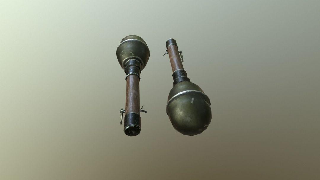 WWII Granade Launcher plus Grenades game ready PBR textures. wwii granade launcher plus grenades 3d model low poly obj mtl fbx tbscene tbmat 10 jpg