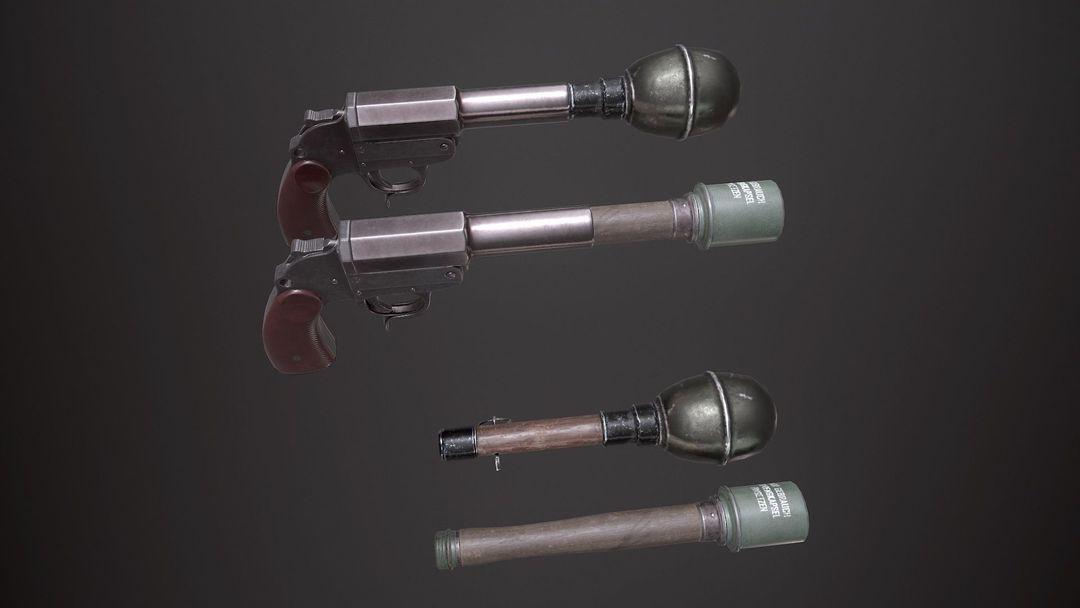 WWII Granade Launcher plus Grenades game ready PBR textures. wwii granade launcher plus grenades 3d model low poly obj mtl fbx tbscene tbmat 2 jpg