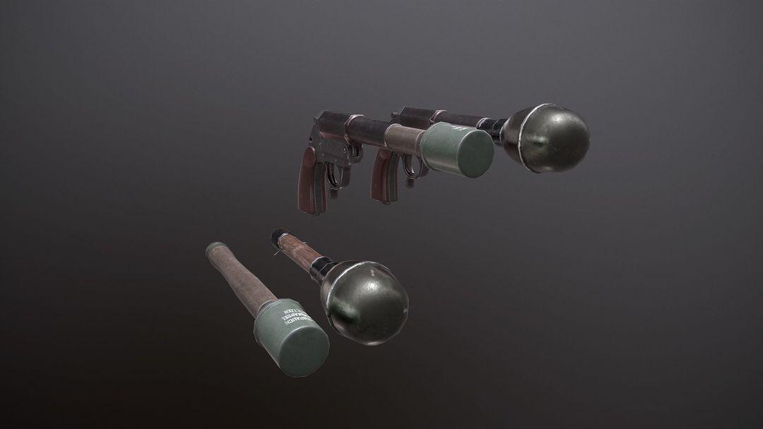 WWII Granade Launcher plus Grenades game ready PBR textures. wwii granade launcher plus grenades 3d model low poly obj mtl fbx tbscene tbmat 3 jpg