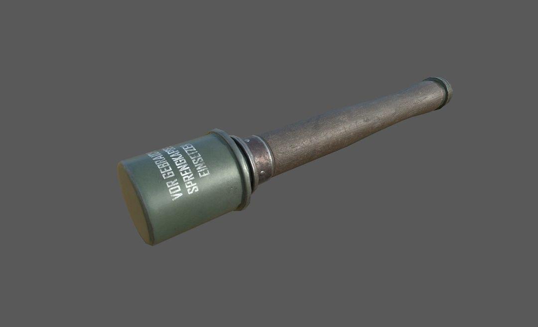 WWII Granade Launcher plus Grenades game ready PBR textures. wwii granade launcher plus grenades 3d model low poly obj mtl fbx tbscene tbmat 4 jpg