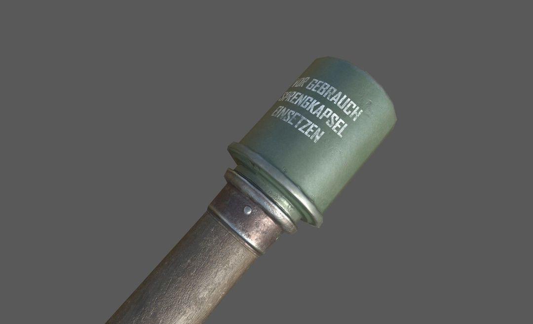 WWII Granade Launcher plus Grenades game ready PBR textures. wwii granade launcher plus grenades 3d model low poly obj mtl fbx tbscene tbmat 6 jpg