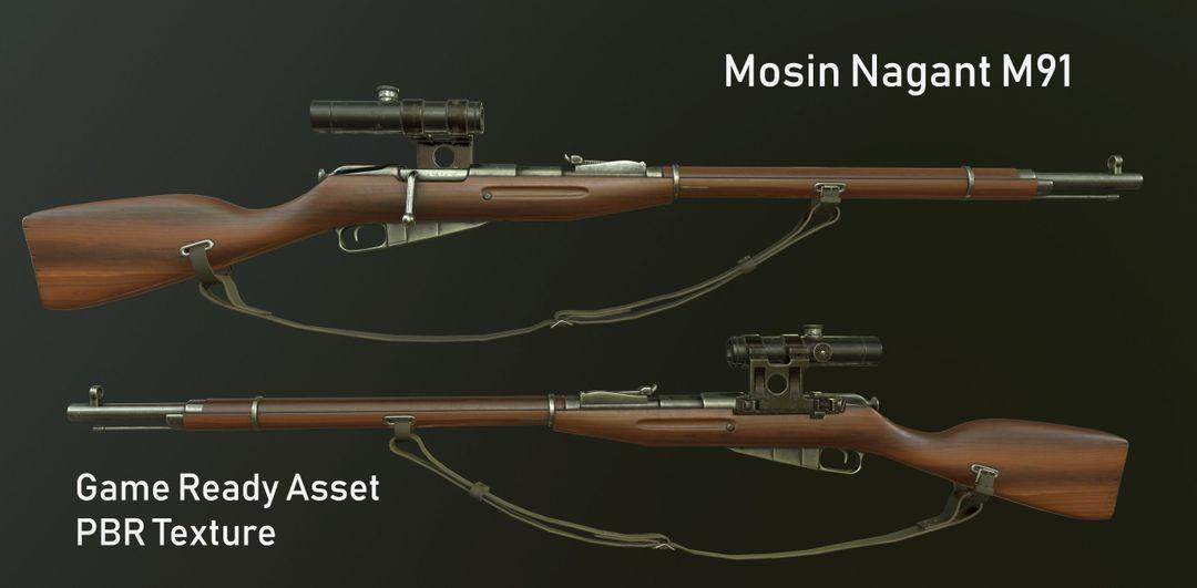 Mosin Nagant M91 Game Ready PBR Textures mosin nagant m91 3d model low poly fbx jpg