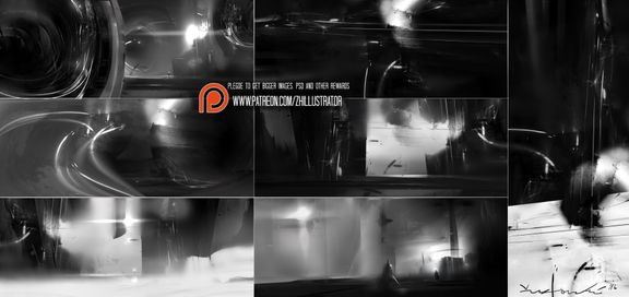 Thumbnail designs, greyscale.