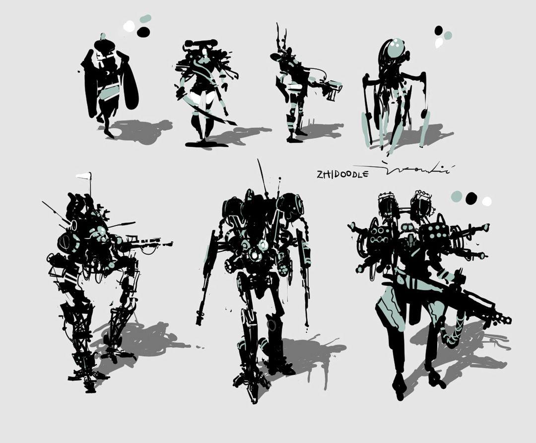 Thumbnail designs, greyscale. sketchies jpg